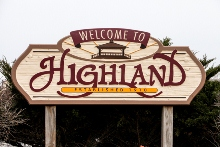Highland, Indiana welcome sign