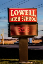 Lowell, Indiana High School sign